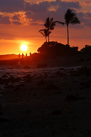 Sunset, Old Airport Beach, Kailua-Kona, Big Island, Hawaii, USA