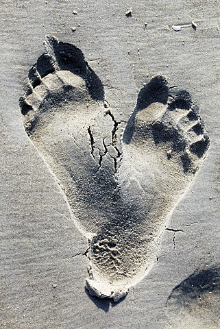 Two footprints in the sand on a beach