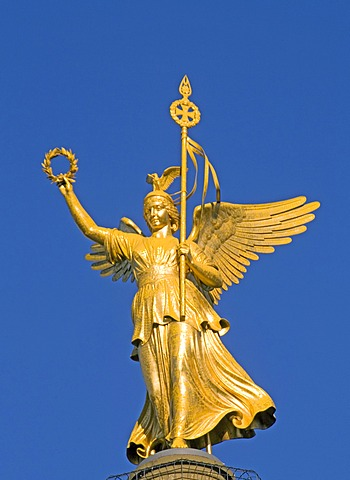 Goldelse, bronze sculpture on top of the Siegessaeule, Victory Column, Berlin Mitte, Berlin, Germany, Europe