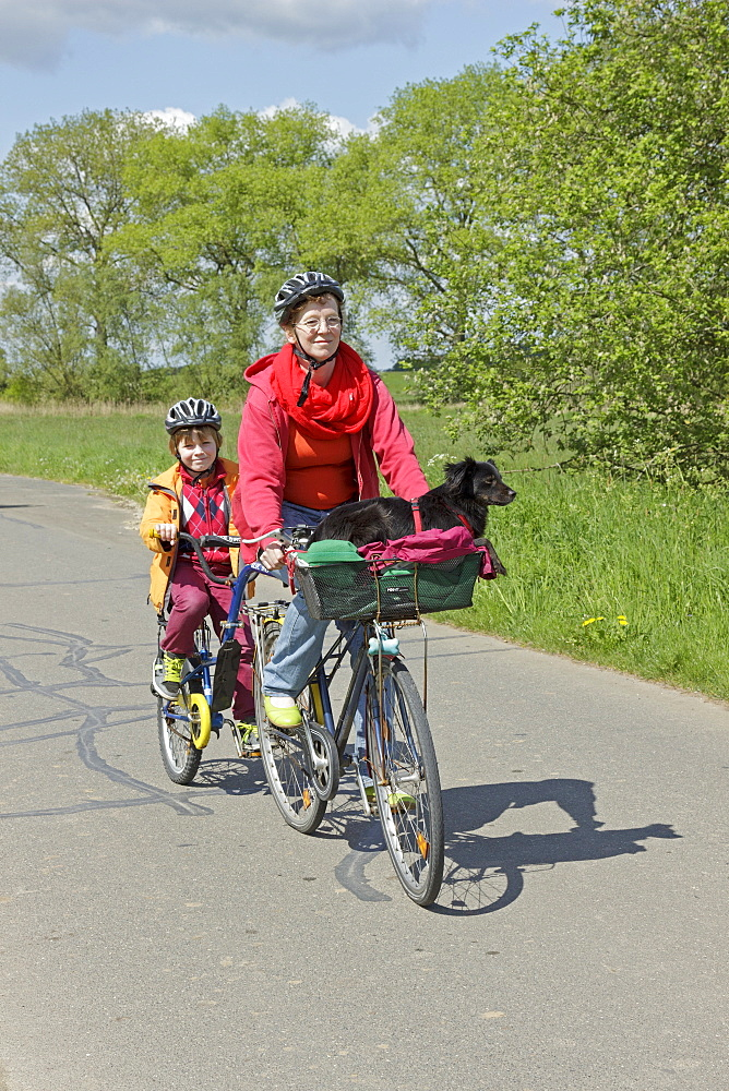 Mother and son with their dog on a cycling tour