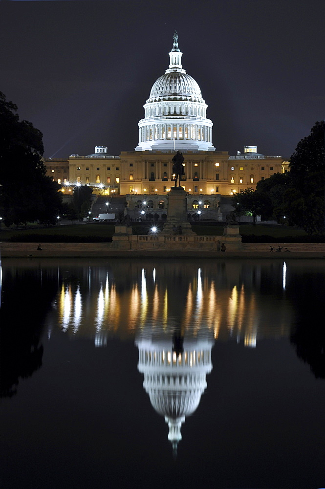 United States Capitol and Capitol Reflecting Pool at night, Washington DC, USA, North America