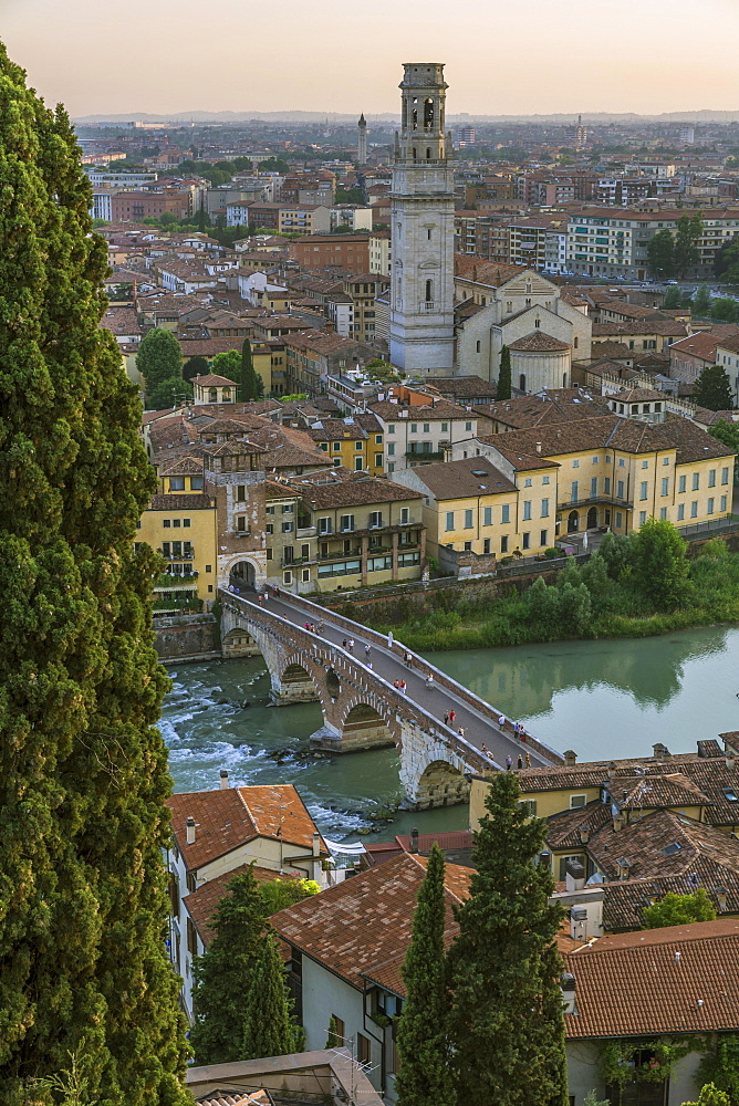 Panoramic view from the hill of San Pietro, old town with the river Etsch and the bridge Ponte Pietra, Verona, Veneto, Italy, Europe