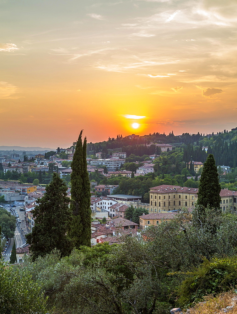 View at sunset from San Pietro hill, cityscape, Verona, Veneto, Italy, Europe