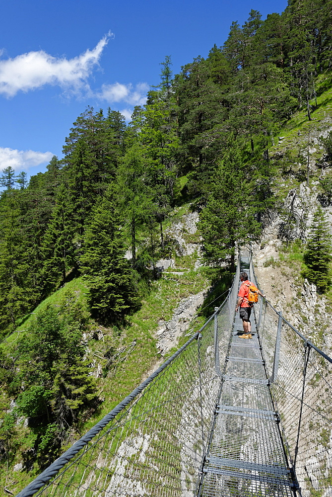 Suspension bridge over the Sulzleklamm, Karwendel Mountains, Mittenwald, Werdenfelser Land, Upper Bavaria, Bavaria, Germany, Europe