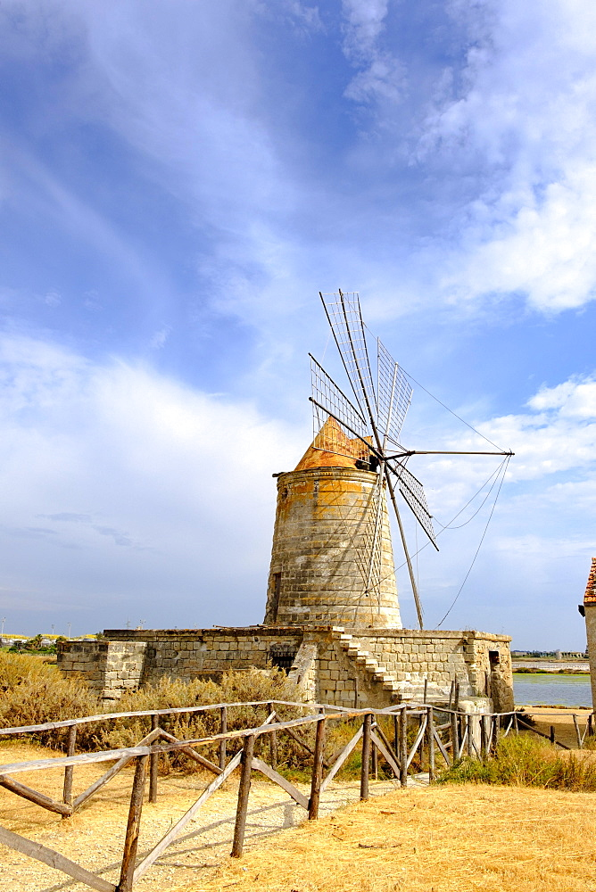 Mulino Maria Stella windmill in front of saltworks, Via del Sale, salt road, province of Trapani, Sicily, Italy, Europe