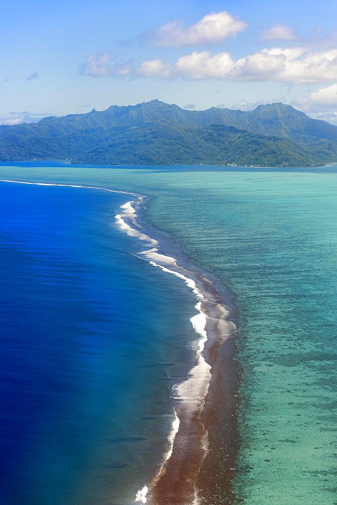 Reef in the South Seas, aerial view, Raiatea, French Polynesia, Oceania