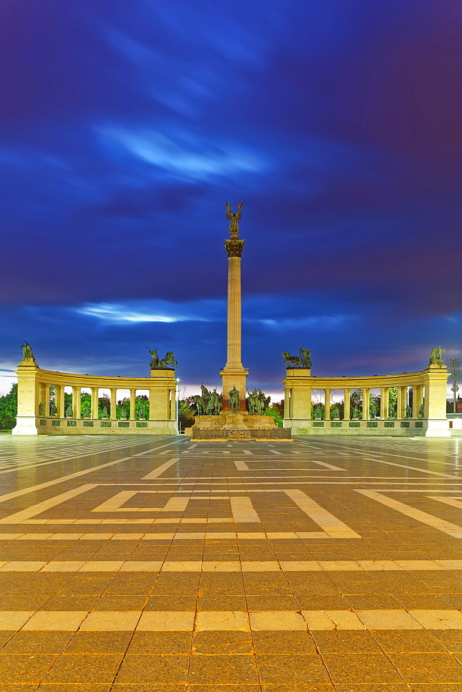 Millennium Monument at Heroes' Square, Dusk, Budapest, Hungary, Europe
