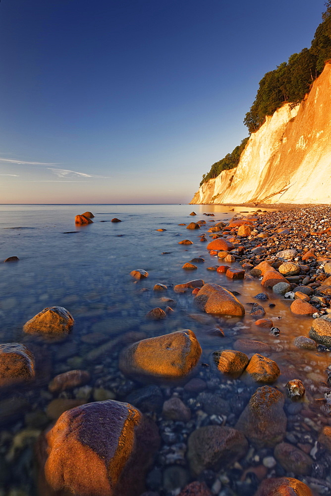 Chalk coast at sunrise, Jasmund National Park, Jasmund peninsula, Rügen, Mecklenburg Vorpommern, Germany, Europe
