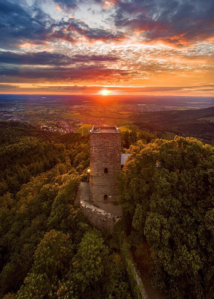 Sunset, Yburg Castle Ruins, Kernen im Remstal, Baden-Württemberg, Germany, Europe