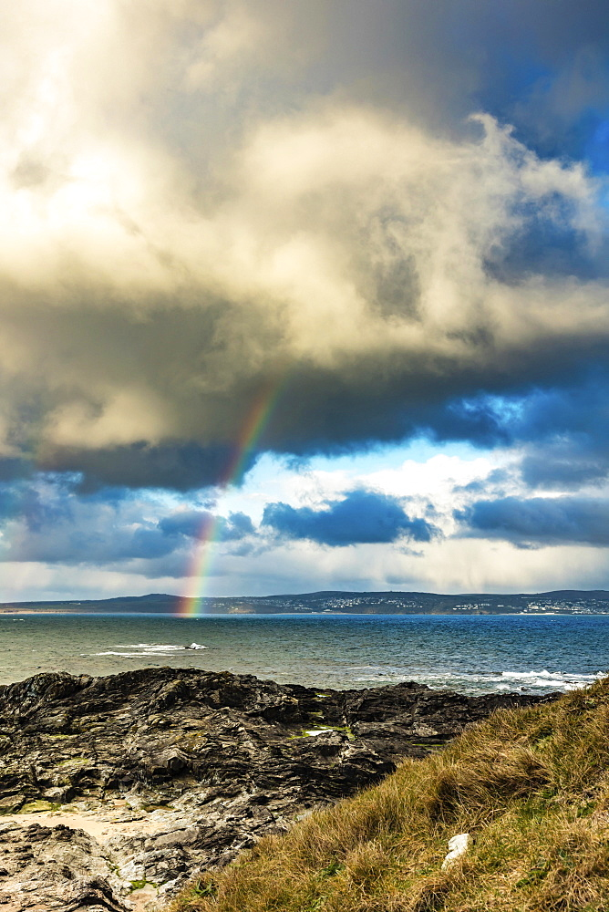Rainbow over the Bay of St. Ives, Cornwall, United Kingdom, Europe