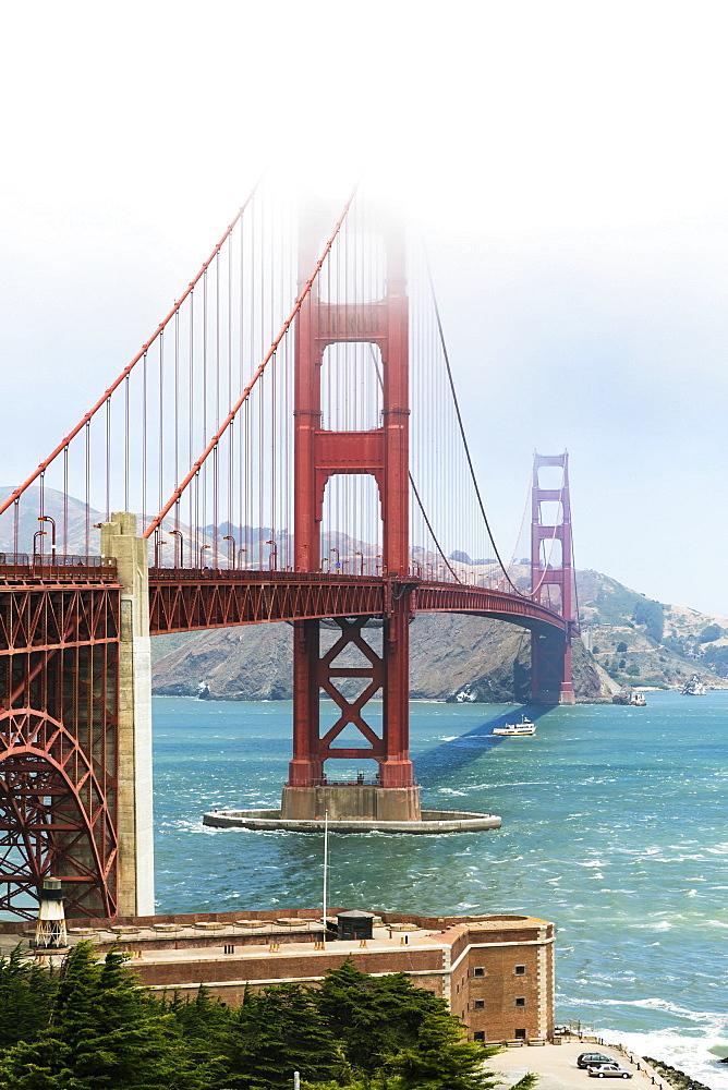 Golden Gate Bridge from Hoppers Hands in fog, San Francisco, California, USA, North America
