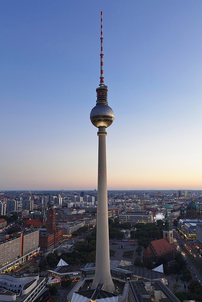 View from the Hotel Park Inn on Alexanderplatz with TV tower, Berlin Mitte, Berlin, Germany, Europe
