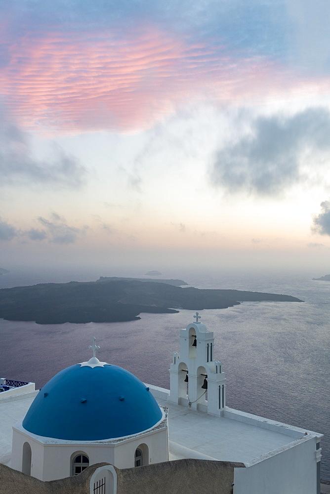 Church, blue dome and bell tower, evening mood, Firostefani, Santorini, Cyclades, Greece, Europe
