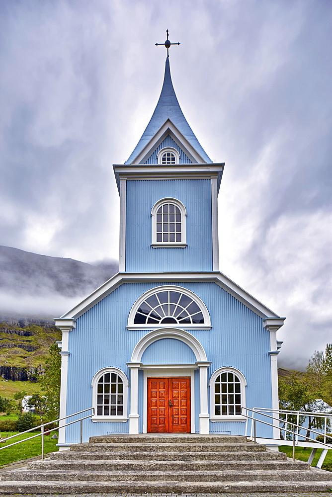 Blue church, Seyðisfjörður, Seyðisfirði, Iceland, Europe