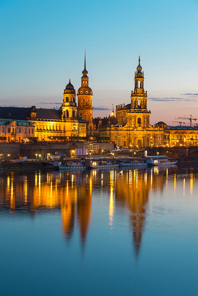 Cityscape with Elbe, Ständehaus, Hausmannsturm and Dresden Cathedral, Dresden, Saxony, Germany, Europe