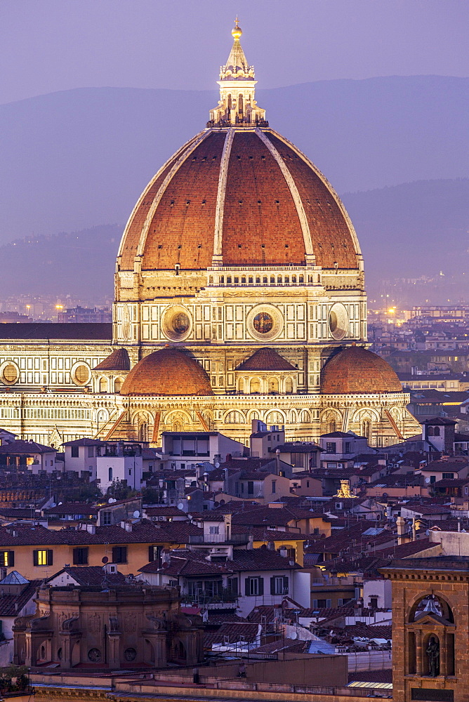 Florence Cathedral, historic centre at dusk, Florence, Tuscany, Italy, Europe