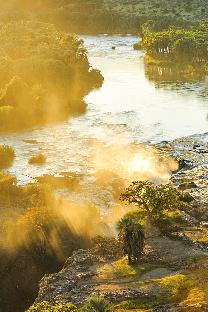 Epupa Falls at Sunrise, Kunene Region, Namibia, Africa