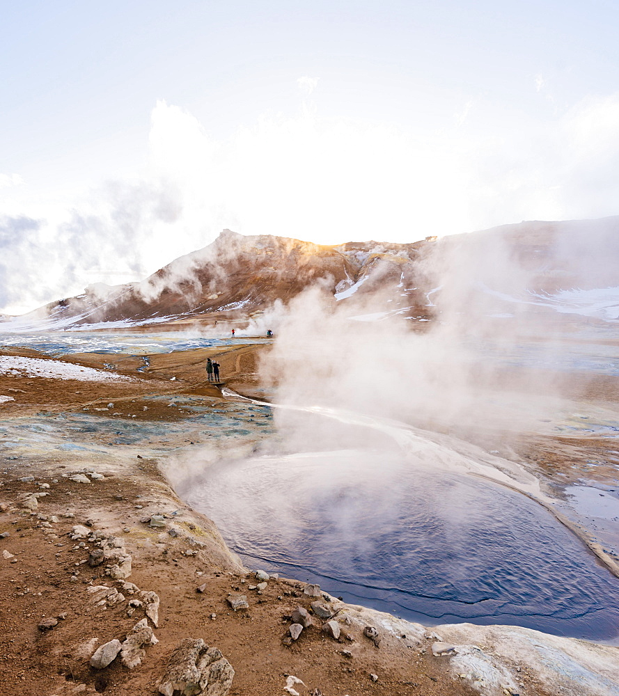 Steaming hot springs, geothermal area Hverarönd, also Hverir or Namaskard, Northern Iceland, Iceland, Europe