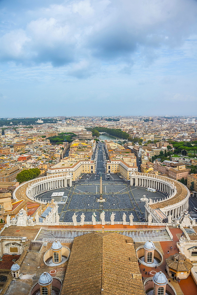 View from the dome of St. Peter's Basilica, San Pietro, across Piazza San Pietro, St. Peter's Square to Via della Conciliazione, Vatican, Rome, Lazio, Italy, Europe