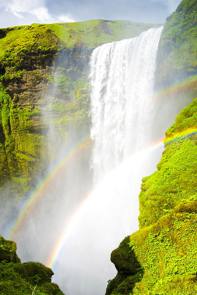Skógafoss waterfall, Skogafoss with double rainbow, Iceland, Europe