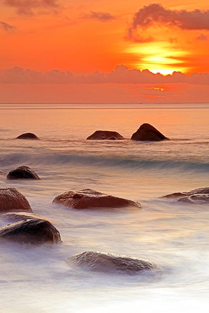 Sunset at Anse Lazio, Praslin Island, Seychelles, Africa