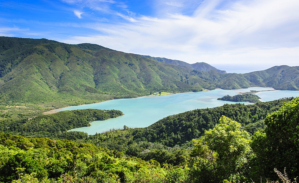 View over the Marlborough Sounds, South Island, New Zealand, Oceania