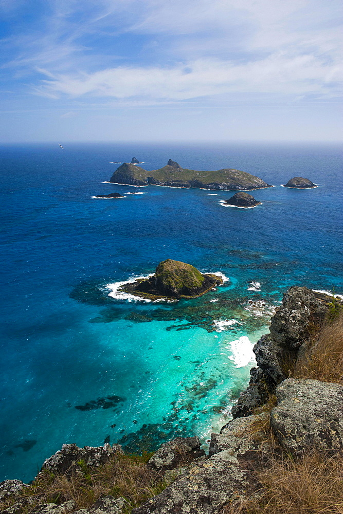View from Malabar hill onto some islets off Lord Howe Island, New South Wales, Australia, Oceania