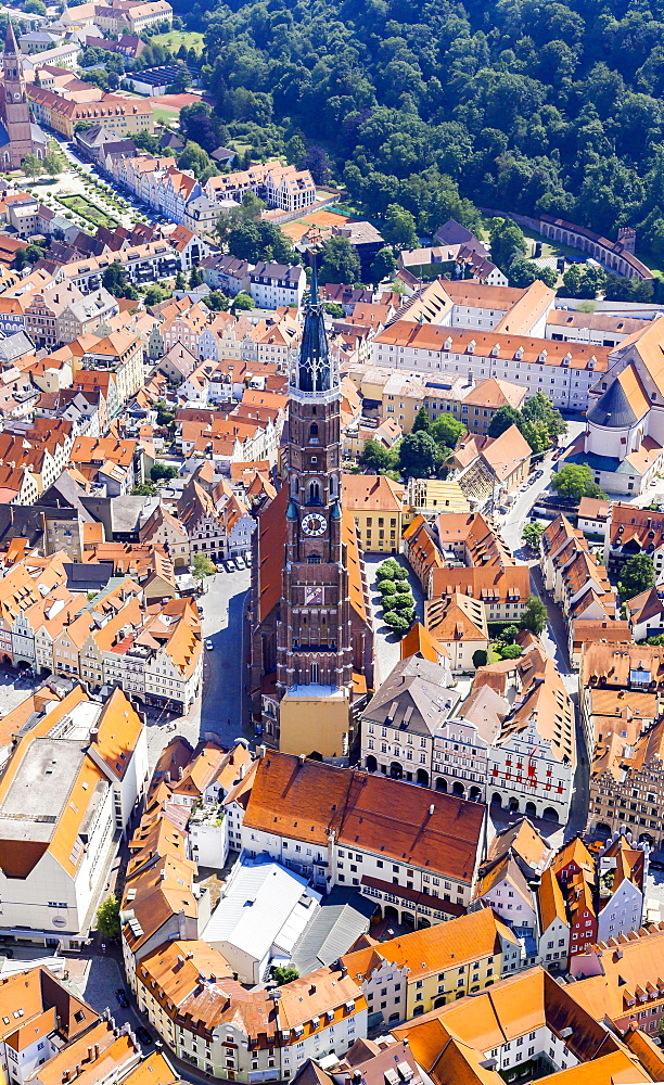 Aerial view, St. Martin's Church in the historic town centre, Landshut, Lower Bavaria, Bavaria, Germany, Europe