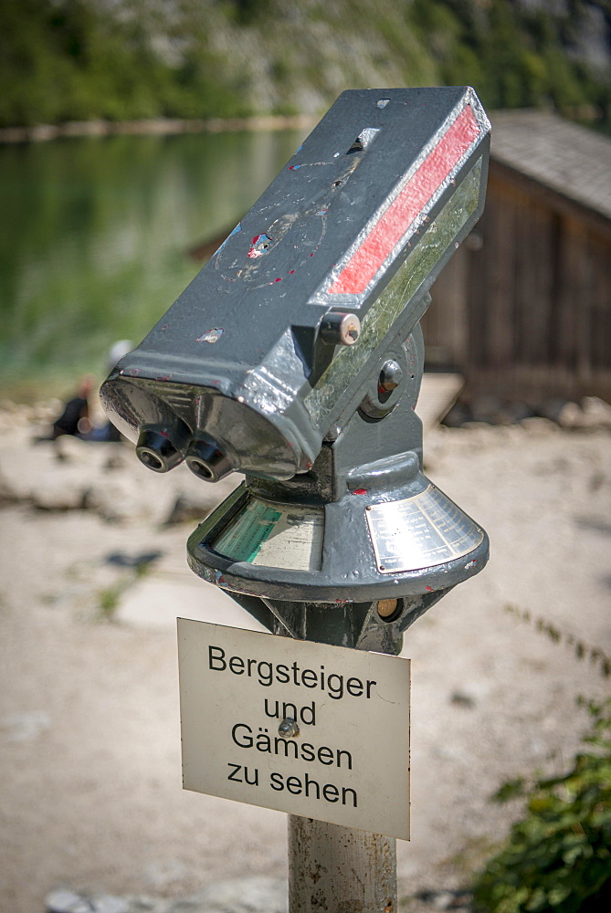 Telescope for tourists, climbers and chamois, Lake Obersee, Salet am Konigssee, Berchtesgadener Land National Park, Berchtesgadener Land, Upper Bavaria, Bavaria, Germany, Europe