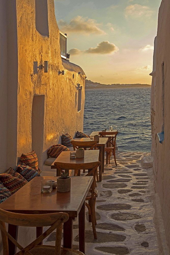 Kastro's Restaurant at sunset, Little Venice, Mykonos Island, Cyclades, Mykonos City, Chora, Greece, Europe
