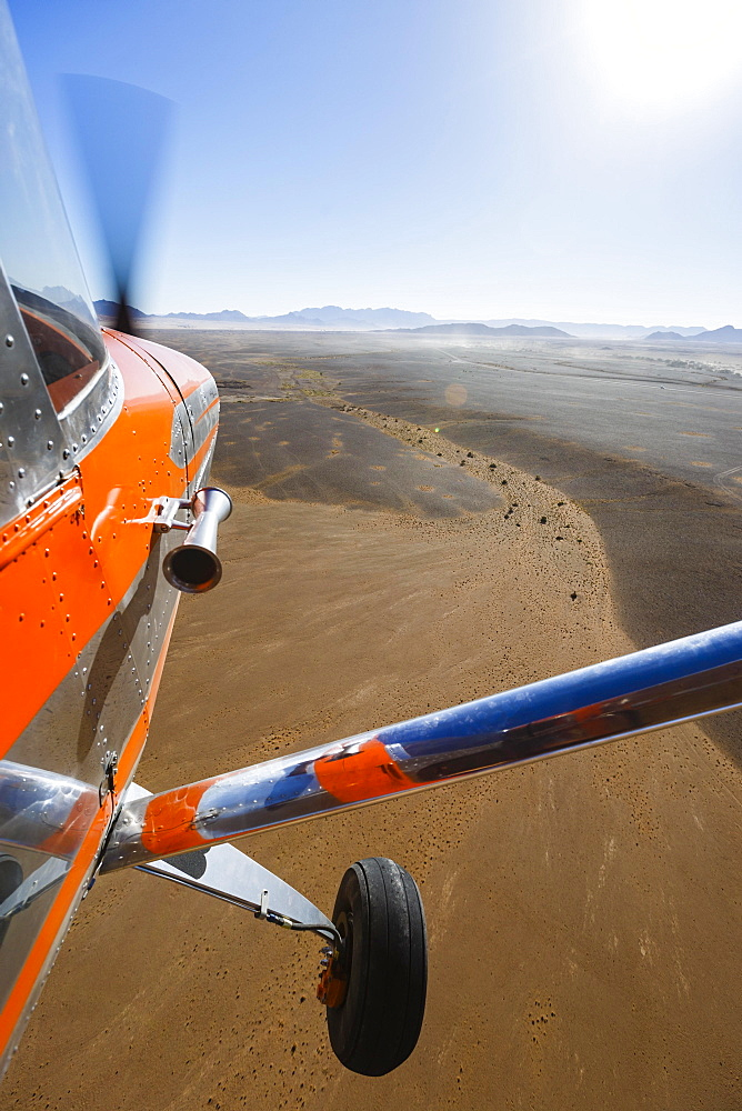 Aerial view, flight over desert landscape, Sossusvlei National Park, Namib-Naukluft National Park, Namibia, Africa