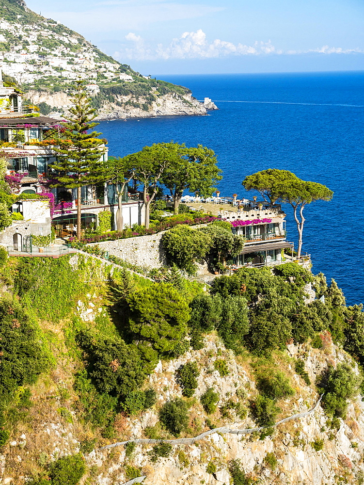 Steep coast with southern vegetation, near Positano, Costiera Amalfitana, Amalfi Coast, Sorrento Peninsula, Campania, Italy, Europe
