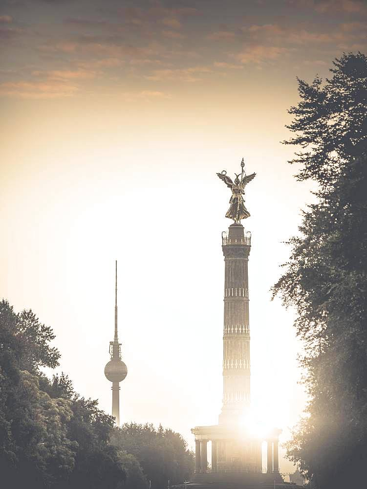 Berlin Television Tower and Victory Column, Berlin, Germany, Europe