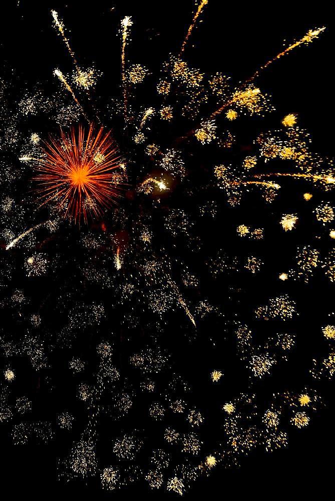 New Year's Eve fireworks, Interlaken, Switzerland, Europe