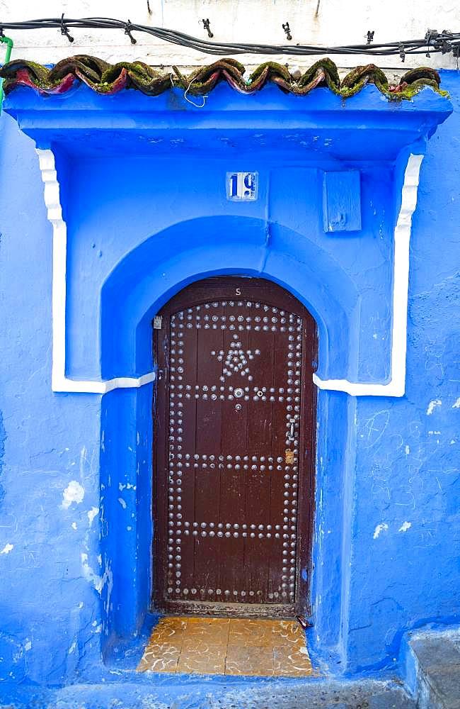 Entrance door, blue house, medina of Chefchaouen, Chaouen, Tangier-Tetouan, Morocco, Africa