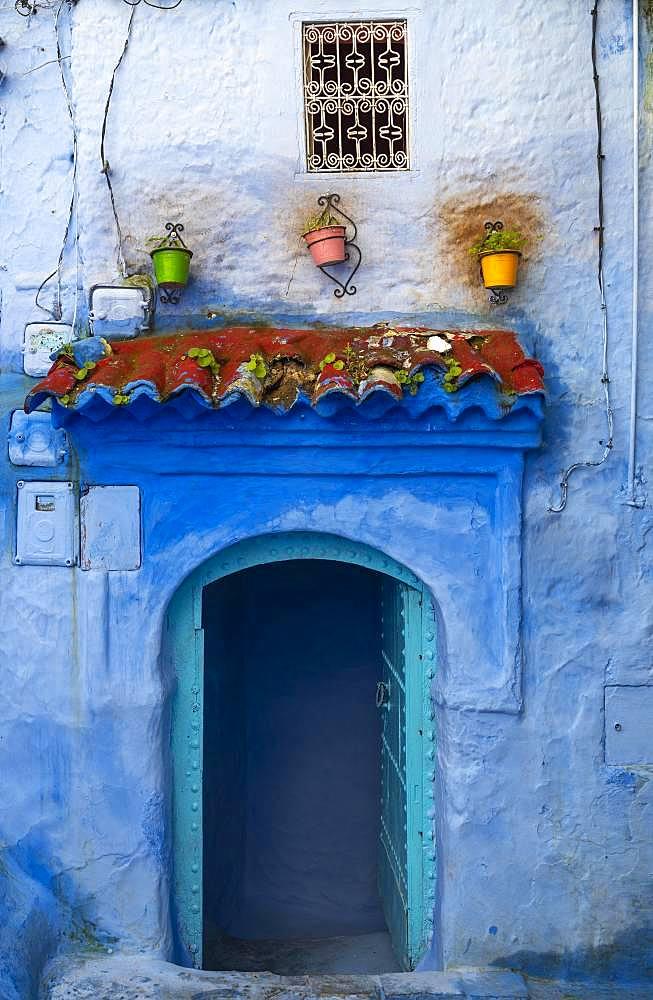 Facade, blue entrance door, blue house, Medina of Chefchaouen, Chaouen, Tangier-Tetouan, Morocco, Africa