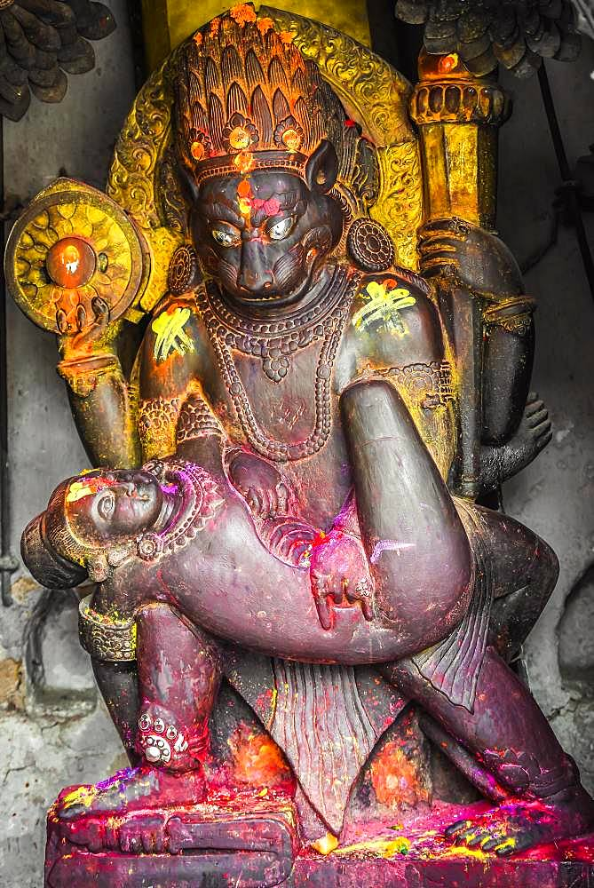 Hindu god representation, Kathmandu, Himalaya region, Nepal, Asia