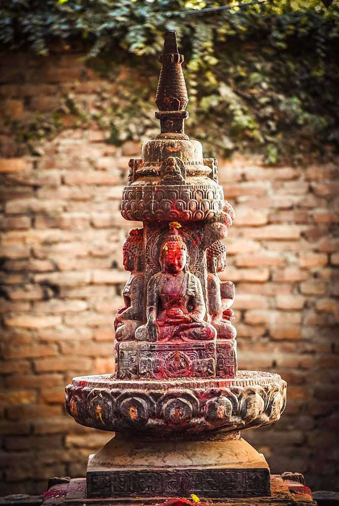 Buddhist stone altar, Patan, Kathmandu valley, Himalaya region, Nepal, Asia