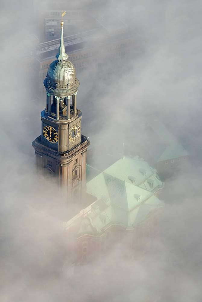 Aerial view, church tower of St. Michaelis in Wolken, Hamburg, Germany, Europe
