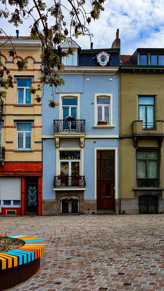 Colourful facade of residential building in Brussels, Belgium, Europe