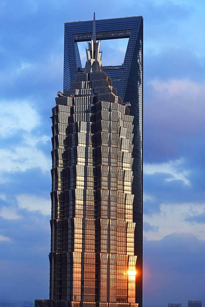 View from the Ritz-Carlton Hotel to the World Financial Center and the Jin Mao-Building in the district of Pudong, Shanghai, China, Asia