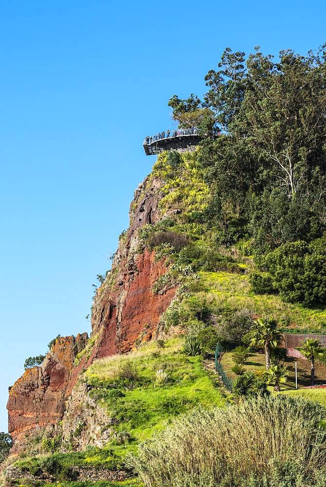 Viewing platform at the steep coast, Cabo Girao, south coast, Madeira, Portugal, Europe