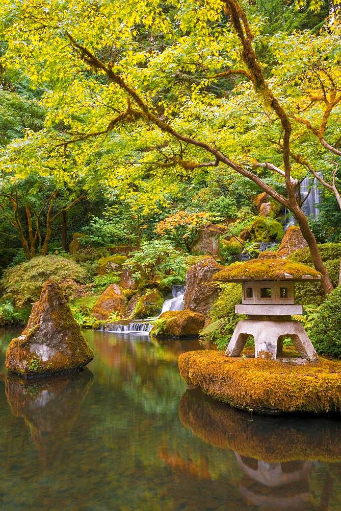 Pond with shrine and waterfall, Japanese garden, Portland, Oregon, USA, North America