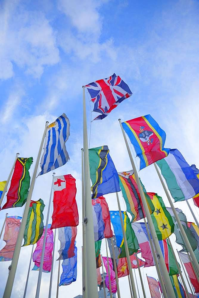 Flagpoles with international flags, ITB, Berlin, Germany, Europe