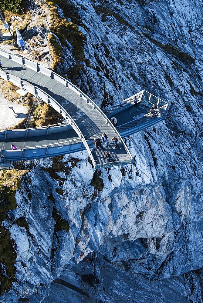 Alpspix viewing platform over the Hoellental, Osterfelder mountain station in the Wetterstein range, Garmisch-Partenkirchen, Bavaria, Upper Bavaria, Germany, Europe