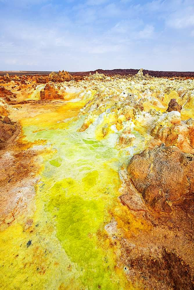 Geothermal area with sulphur deposits and acidic salt lakes, Dallol, Danakil Valley, Ethiopia, Africa