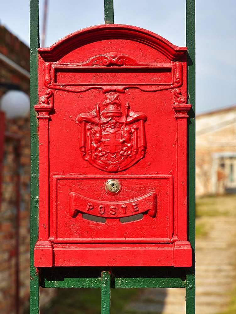 Red mailbox, Murano, Venice, Venetia, Italy, Europe