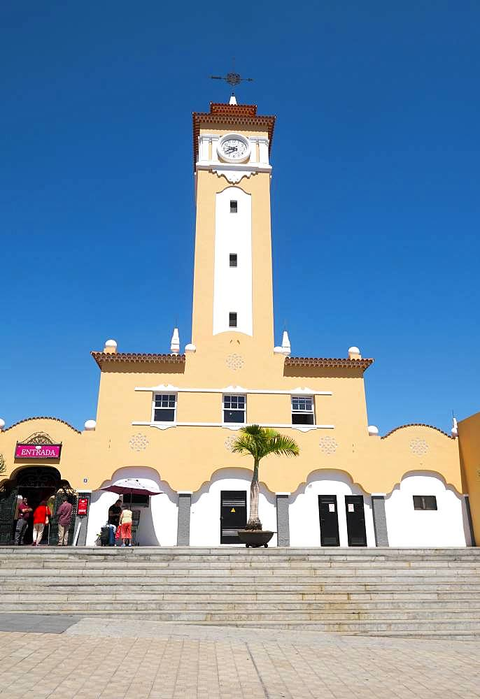 Market hall Mercado Nuestra Senora de Africa with clock tower, Moorish architecture, Santa Cruz de Tenerife, Tenerife, Canary Islands, Spain, Europe