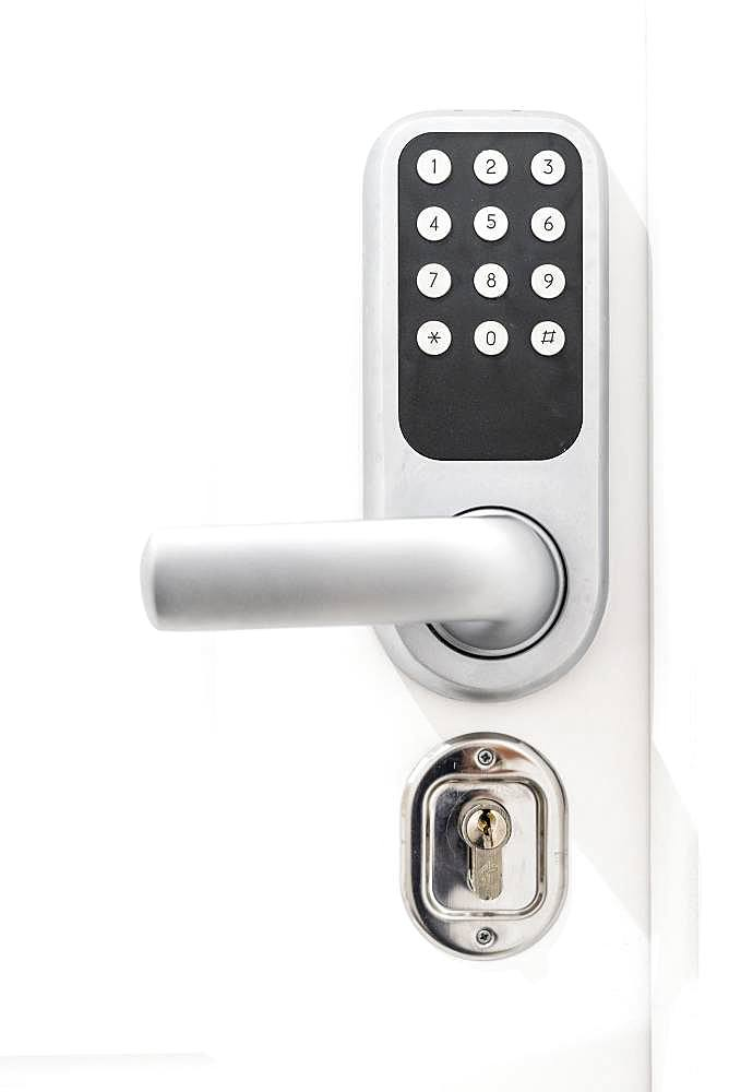 Door lock in white door, numeric code to hotel, Portugal, Europe