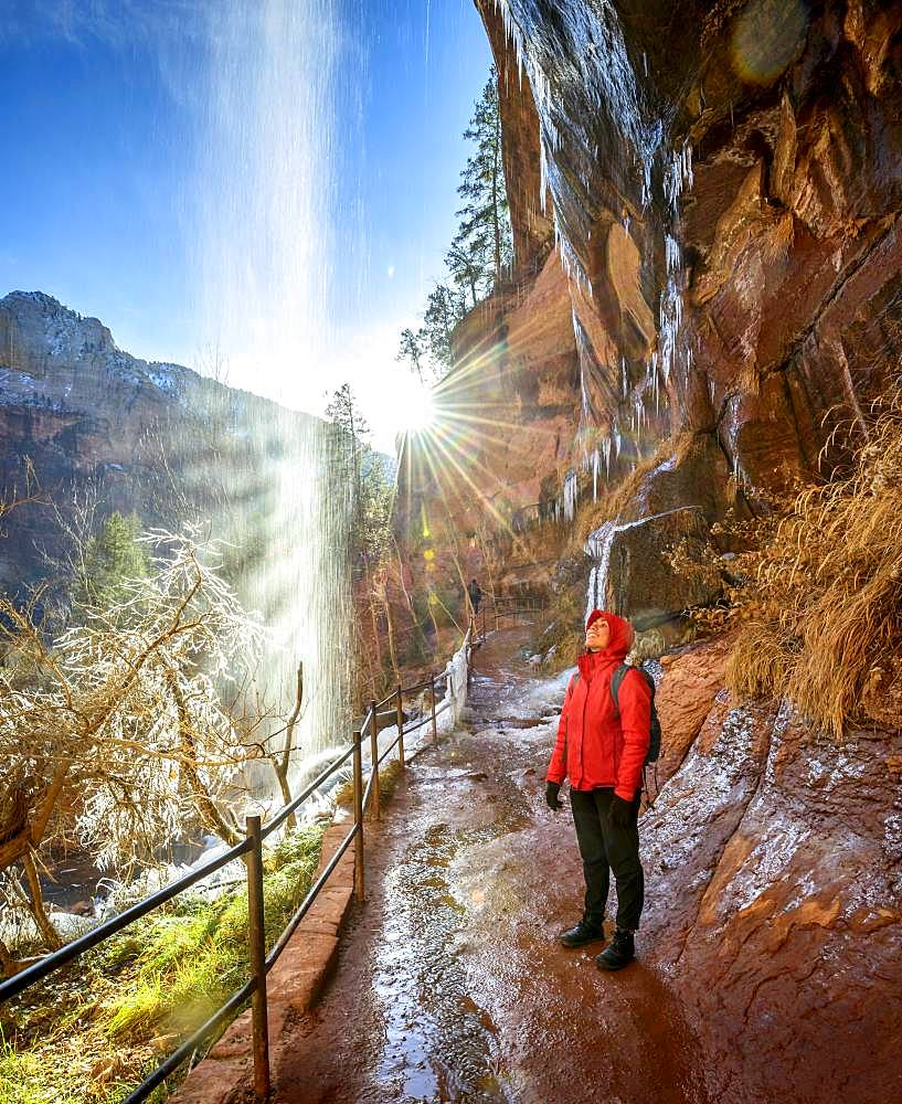 Female hiker in front of waterfall, water falls from overhanging rock, icy hiking trail Emerald Pools Trail in Winter, Zion National Park, Utah, USA, North America